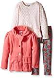 Nannette Little Girls' Toddler 3 Piece Jacket Set WTH Long Sleeve Shirt and Legging, Coral, 3T