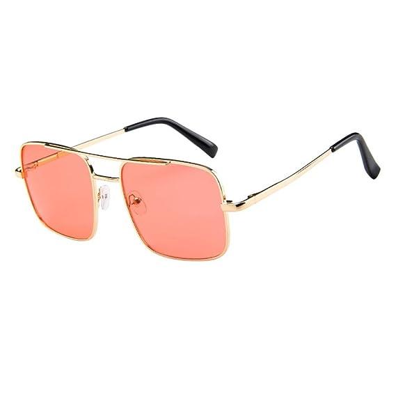 Keepwin Verano Nuevo Gafas De Sol Rectagular Unisex Hombre Mujer Doble Puntes Metal Gafas (A): Amazon.es: Ropa y accesorios