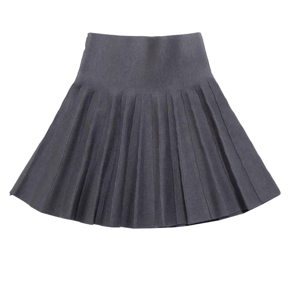 Gooket Girls High Waist Knitted Flared Pleated Skater Skirt Casual Mini Skirt Grey Tag 120 (5-6 Years)