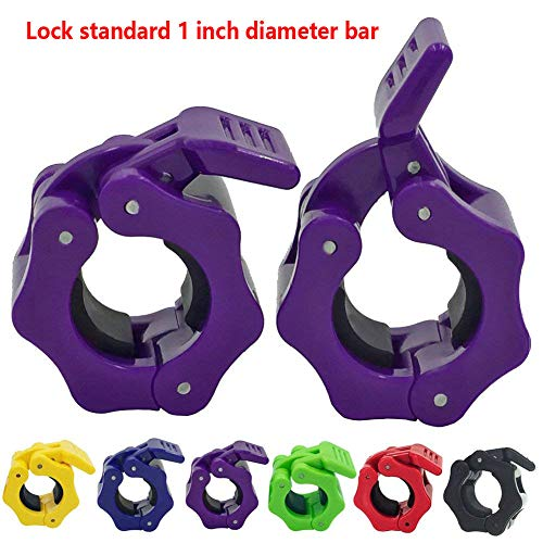 Purple Weight - Greententljs. Standard Barbell Collar - Quick Release Locking Barbells - 1'' Weight Bar Clamp - Holder Plates Grip Bars - Great for Workouts Gym Equipment Rack Cage Power Exercise (Purple)