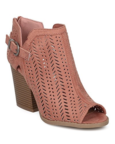 Laser Cut Tank Dress (Alrisco Women Perforated Chunky Block Heel Bootie - Buckled Laser Cut Ankle Boot - Festival Trendy Versatile Dressy Casual - HD43 by Qupid Collection - Dusty Blush Faux Suede (Size: 8.5))