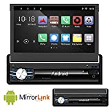 Ezonetronics Android 6.0 Quad Core Single Din Retractable Car Radio 7 inch Capacitive Touch Screen High Definition 1024x600 GPS Navigation USB SD Player 1G DDR3 + 16G NAND Memory Flash CT0013