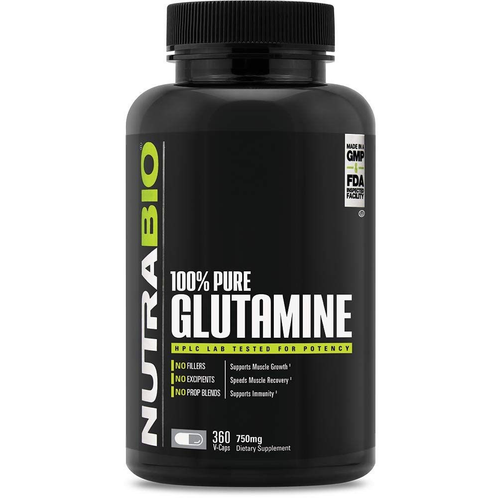 NutraBio 100% Pure L-Glutamine (750 mg) - 360 Vegetable Capsules