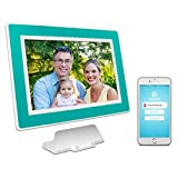 PhotoSpring (16GB) 10-Inch IPS, WiFi, Touchscreen, Battery, iPhone & Android App, Photo & Video, Digital Picture Frame (White with Turquoise Mat) 15,000 photo capacity Review