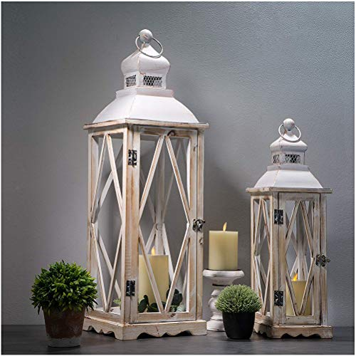 Glitzhome Farmhouse Wood Metal Lanterns Decorative Hanging Candle
