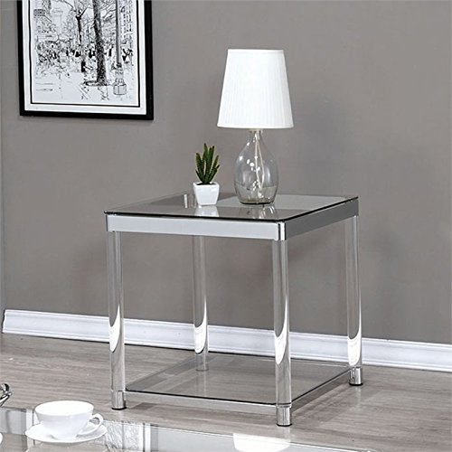Coaster 720747-CO 1 Shelf Glass Top End Table, Chrome