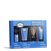 The 4 Elements of The Perfect Shave Mid-Size Kit - Lavender by The Art of Shaving for Men - 4 Pc Kit 0.5oz Pre-Shave Oil, 1.0oz Shaving Cream, 0.5oz After Shave Balm, Pure Badger Black Shaving Brush