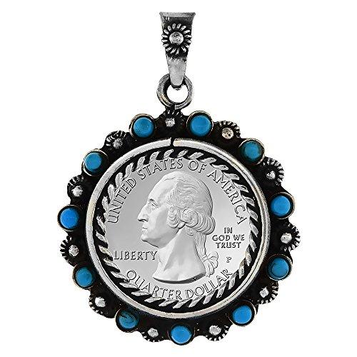 (Sterling Silver Quarter Dollar Bezel 24 mm Coins Prong Back Flower Edge Blue Beads 25 Cent)