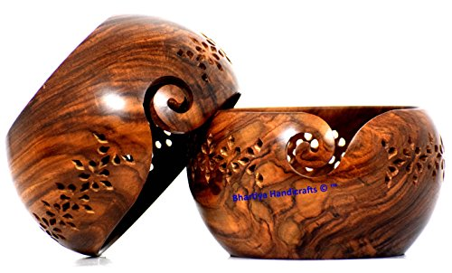 Wooden Yarn Bowl Portable Knitting Yarn Bowl Premium Rosewood Crafted Yarn Storage With Decorative Carved flower shape Handmade Grills (Mother gift) Bhartiya Handicrafts (7 x 7 x 4 Inches) -