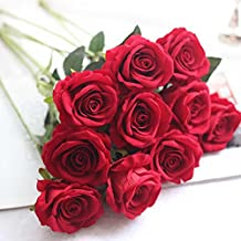 Artificial Flowers,Fake Flowers Bouquet Silk Roses Real Touch Bridal Wedding Bouquet for Home Garden Party Floral Decor 10 Pcs (red)