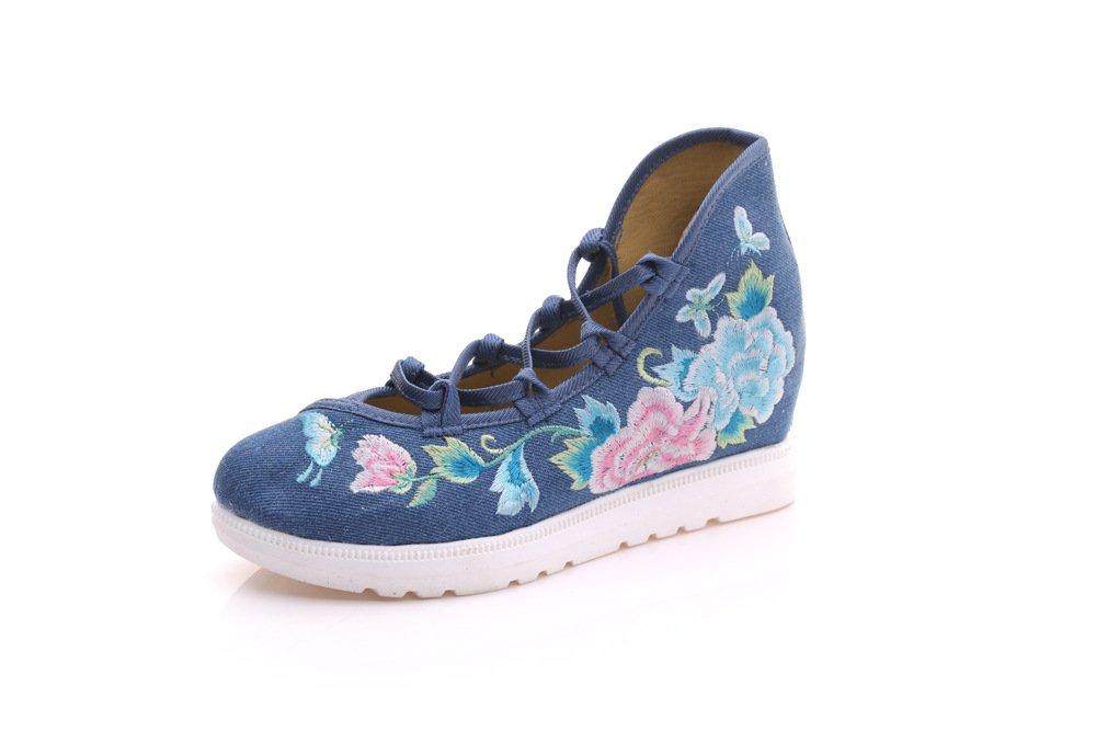 YDA- Die gestickten Schuhe der Frauen KAFEI Weibliche Bestickt Freizeitaktivitäten Leinwand Gummifüße Täglich Neigung Ferse, Rot, 35