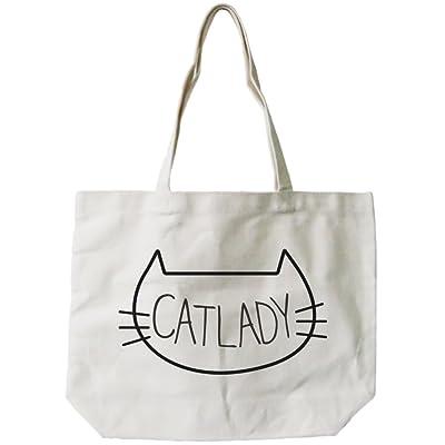 365 Printing Women's Cat Lady Canvas Tote Bag Natural