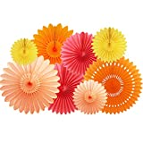 NICROLANDEE Orange Tissue Paper Fans Decorations Kit - 8PCS Hanging Fan for Baby Shower Birthday Wall Hanging Decoration Fall Party Photo Backdrop Decor Autumn Thanksgiving Decoration