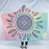 Sleepwish Teen Girls and Adult Hooded Blanket Pink and Green Mandala Hippie Feather Design Reversible Sherpa Fleece Blanket (Adults 60''x 80'')