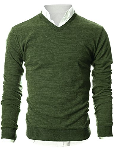 Ohoo-Mens-Slim-Fit-Light-Weight-V-Neck-Pullover-Sweater