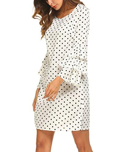 Casual 4 Print Ruffle Tunic Sleeve White Dot Dress Sohune Short Women's 3 6qRw5xISB