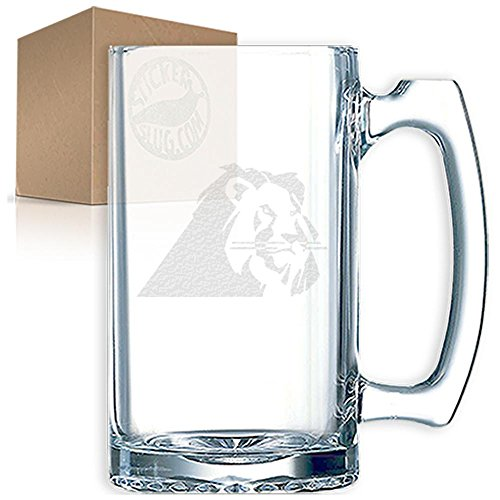 (Stickerslug Engraved Regal Tiger Glass Beer Mug, 27 ounce)