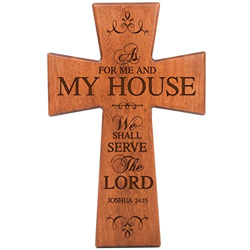 LifeSong Milestones As for Me and My House Cherry Wood Wall Cross Housewarming Gift (7x11)