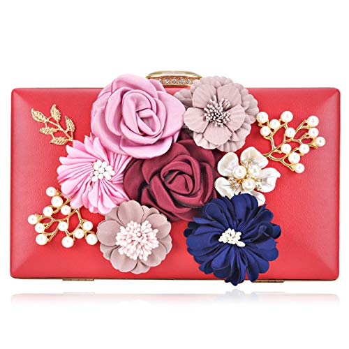 (Women Flower Clutches Handbags Evening Bags Prom Party Wedding Cocktail Clutch Purses with Pearls Beaded)