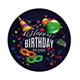 iPrint Polyester Round Tablecloth,Birthday Decorations,Colorful Balloons Curling Ribbons Carnival Mask Party Hat Confetti,Multicolor,Dining Room Kitchen Picnic Table Cloth Cover Outdoor Indoor