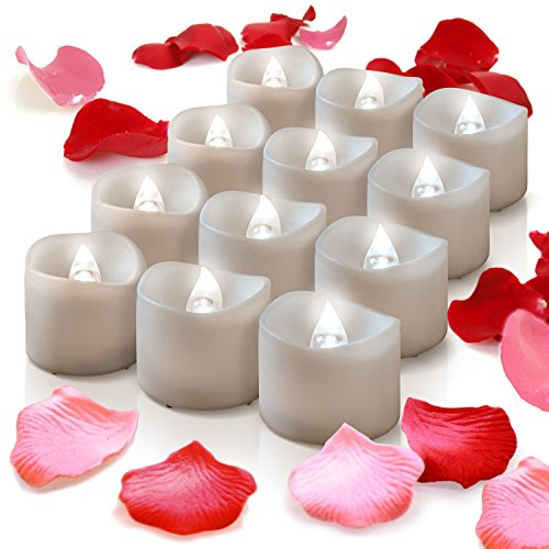Flameless Candles With Timer, 12 Battery Candles Operated Tealights W/ Fake Rose Petals, Flicker LED Powered Candle Tea Lights For Wedding Cake Toppers, Decorations, Wreath, Mason Jar, Votive Wrap]()