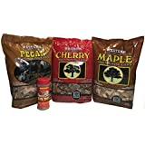 Unique Western Wood Chip Bundle with Free Famous Dave's Rib Rub - Variety Pack Bundle (3) - Unique Flavors - Pecan, Cherry, and Maple