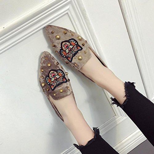 Voberry Pumps, Sommer Frauen Wohnungen Damen Stickerei Wildleder Schuhe Slip-on Freizeitschuhe F