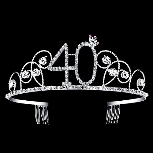 BABEYOND Crystal Birthday Tiara Crown Princess Birthday Crown Hair Accessories Happy 40th Birthday Crown Tiara for Women (40 Birth) -