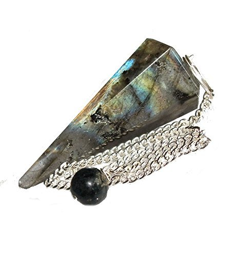 Healing Gemstone Crystal Point Pendulum - Divination, Dowsing, Scrying (Labradorite) by Green Cross Toad