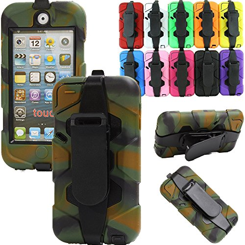 Generic For ipod touch 5 Case, Shockproof Tough Armor Rugged 3 Layer Protection Defender Heavy Duty Military Hybrid Belt Clip Case With Built-in Screen Protector For Ipod Touch 5 th Generation Only (Camo)