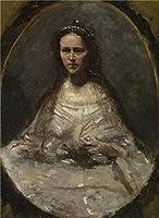 のポリエステルキャンバス地の油絵Jean Baptiste Camille Corotのスケッチの女性のブライダルドレス」、サイズ: 10x 14インチ/ 25x 35cm、この高定義アート装飾キャンバスプリントは、フィットの保育園装飾とホームアートワークとギフトの商品画像