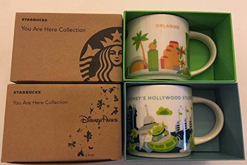 Starbucks 2 Mug Set: Orlando + Disney's Hollywood Studios You Are Here (YAH) 14 Oz Mugs W/Bonus Blank Card (Starbucks Mugs Orlando)
