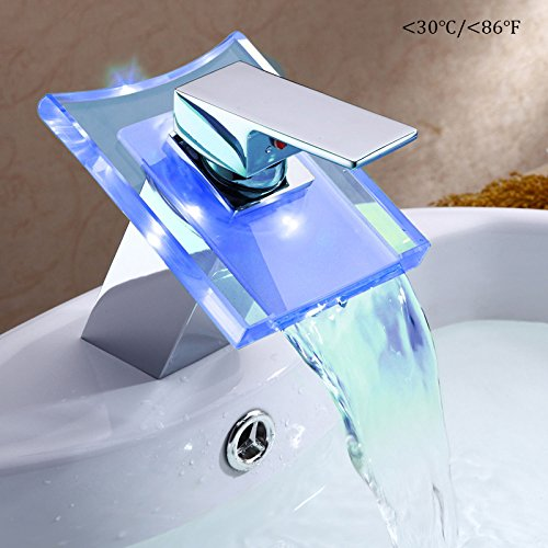 WHOSEE LED Color Changing Waterfall Glass Faucet Bathroom Water Tap outlet