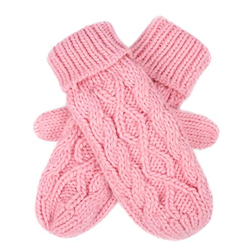 HDE Womens Winter Gloves Crochet Twist Cable Knit Hand Warmer Mittens,Pink,One Size