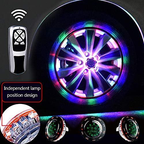 車のタイヤホイールライト、11モード24 LEDソーラー車のホイールタイヤハブライト、RGB点滅カラフルなエクステリアライト、RFリモートコントロール、装飾警告灯(1セット)