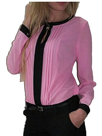 1f76e0931ee WSPLYSPJY Women's Casual Front Pleated Chiffon Blouse Ladies Long Sleeve Office  Tunic Tops at Amazon Women's Clothing store: