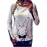 Taiduosheng Women's Happy Easter Day Pullover Sweatshirt White Cute Rabbit Bunny Printed Top Blouses US M
