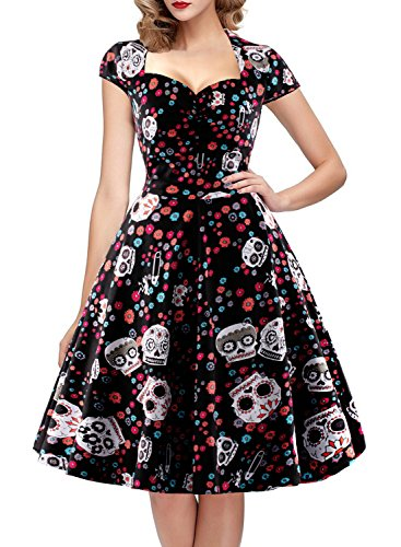 OTEN Women's Polka Dot Sugar Skull Vintage Swing Retro Rockabilly Cocktail Party Dress Cap Sleeve Black -
