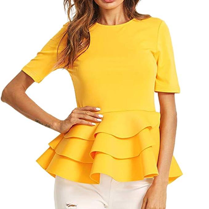 Blusa y Camisa Mujer Costura Color Falda de Manga Corta con ...