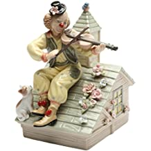 Cosmos Gifts 20867 Clown with Violin Musical Ceramic Figurine, 6-1/4-Inch