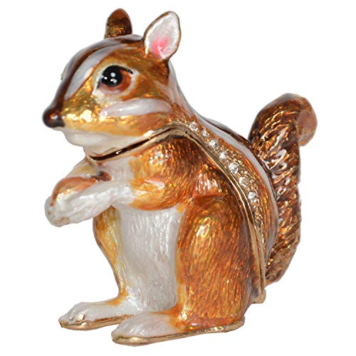 Jeweled Glass Enamel Box - Minihouse Chipmunk Handmade Jeweled Metal Enamel Trinket Jewelry Box Animal Decoration Creative Gifts