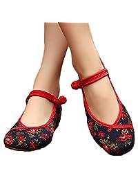 AvaCostume Womens Flower Painting Flats Mary Jane Qipao Dress Shoes