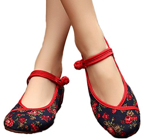 AvaCostume Womens Flower Painting Flats Mary Jane Qipao Dress Shoes, Black ()