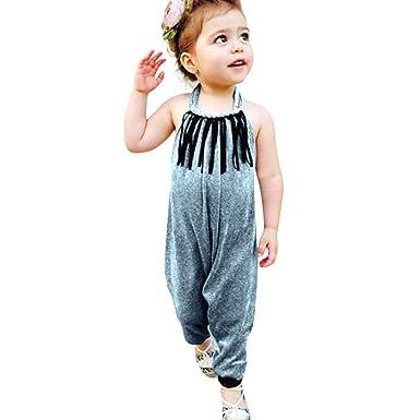dcd28448d Euone® Toddler Girl Straps Tassel Jumpsuit Kids Child Backless Long Pants  Romper (1-