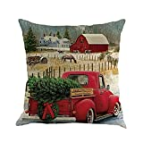 iLH Clearance!Christmas Pillow Cases,ZYooh Tree Car Printed Linen Throw Pillow Cases Sofa Cushion Cover Home Party Decoration 18'' (G)