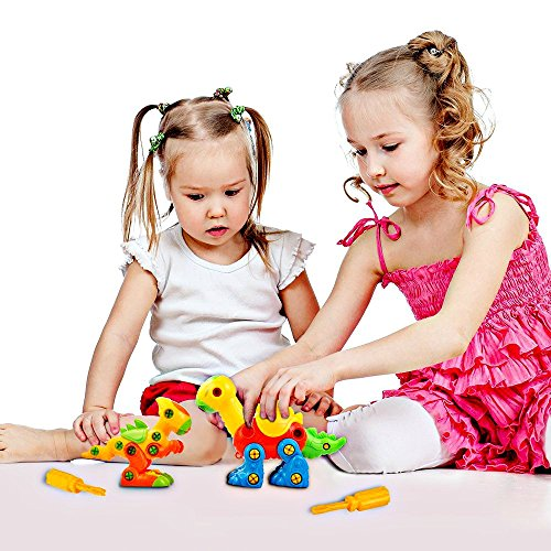 51NyM42VGDL - Dinosaur Take Apart Toy Set for Kids by Dimple - Premium Pack of 3 Educational Build Your Own Dino Toys, (106 Pieces) Top Construction Toy for Boys Girls & Toddlers, Great for Children