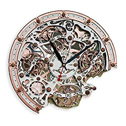 Automaton Bite Wall Clock White Copper | Handcrafted Clocks with Steampunk, Rustic Design and Mechanical Gears | Wooden Home Decor for Kitchen, Living Room and Office | Personalized Decorative Art