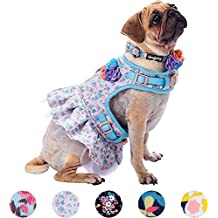"""Blueberry Pet 5 Patterns Soft & Comfy Spring Made Well Lovely Floral No Pull Mesh Dog Costume Harness Dress in Lavender, Chest Girth 19""""-21"""", Small, Adjustable Harnesses for Dogs"""