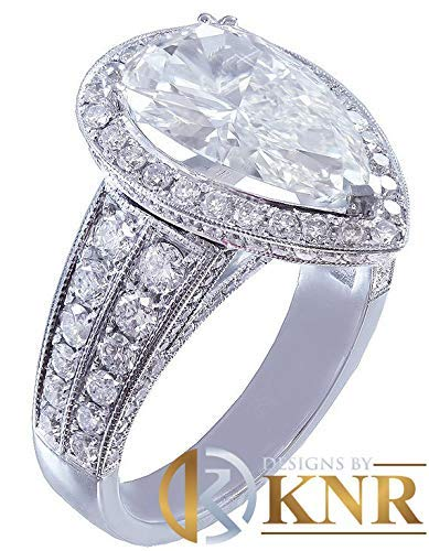 14k solid white gold pear shape moissanite and natural diamond engagement ring art deco halo prong set, propose, promise 3.50ctw