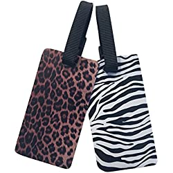Nicole Miller Luggage ID Tags - 2-pack (Zebra & Leopard Print)